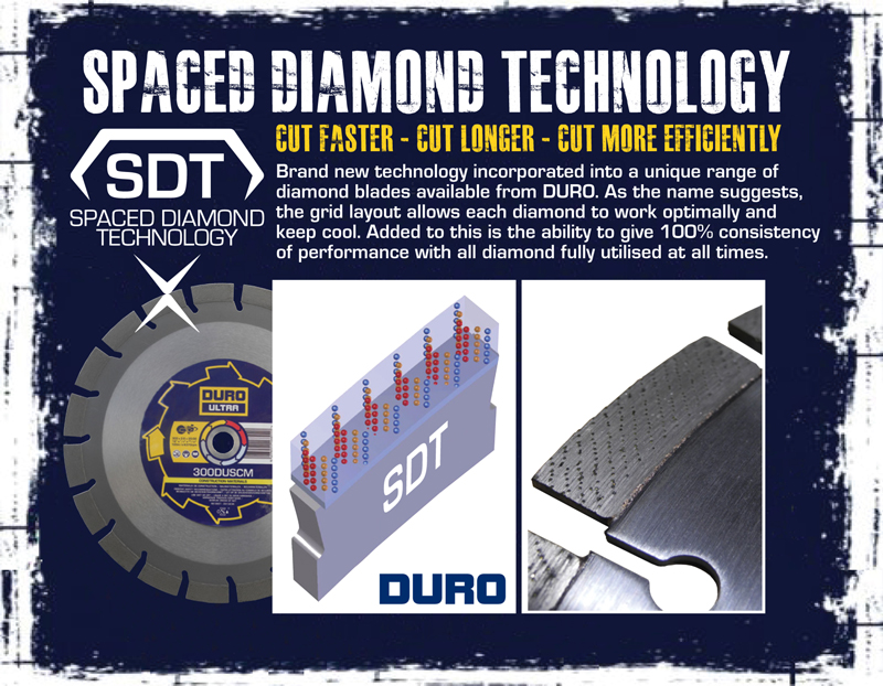 Spaced Diamond Technology - a brand new technology incorporated into a unique range of diamond blades from DURO.